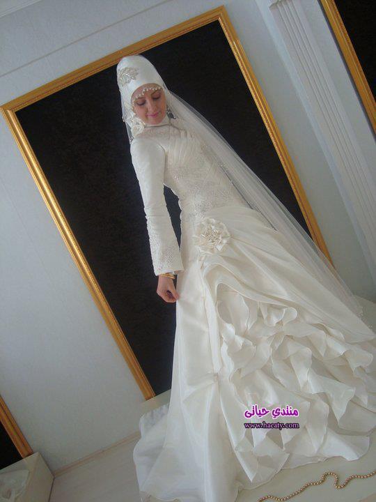 موديلات فساتين زفاف محجبات روعة – صور فساتين زفاف فخمة 2014